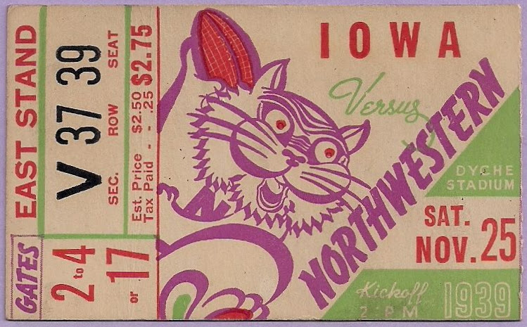 1939 NCAAF Iowa at Northwestern ticket stub