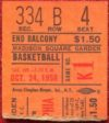 1959 Warriors at Knicks Wilt Chamberlain first NBA game ticket stub