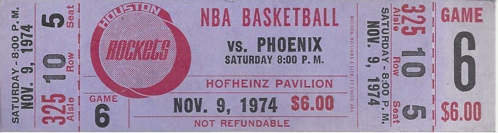 1974 NBA Suns at Rockets ticket stub
