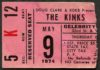 1974 The Kinks in Phoenix ticket stub