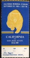 1984 NCAAF San Jose State at California ticket stub