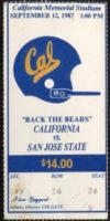1987 NCAAF San Jose State at California ticket stub