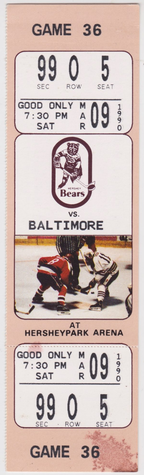 1990 AHL Hershey Bears ticket stub vs Baltimore for sale