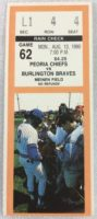 1990 MiLB Midwest League Burlington Braves at Peoria Chiefs ticket stub