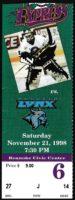 1998 ECHL Roanoke Express ticket stub vs Augusta