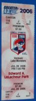2006 MiLB NY-Penn League Vermont Lake Monsters at Lowell Spinners ticket stub