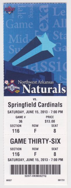 2013 MiLB Texas League Springfield Cardinals at Northwest Arkansas Naturals ticket stub