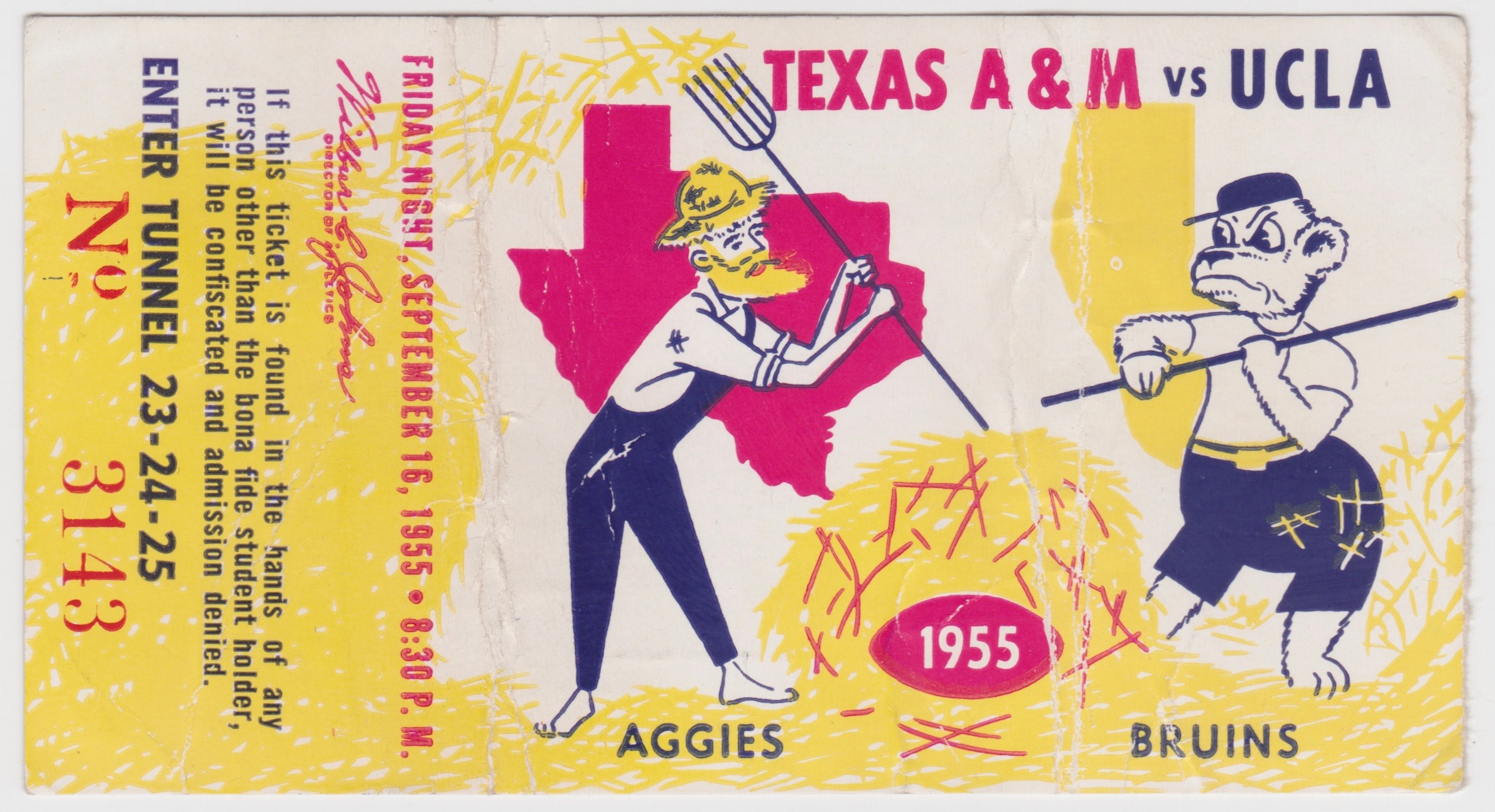 1955 NCAAF Texas A and M at UCLA ticket stub