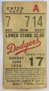 1956 MLB Milwaukee Braves at Brooklyn Dodgers ticket stub Longest Ebbets HR ever