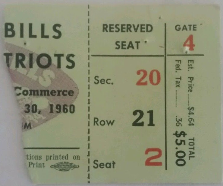 1960 AFL Patriots at Bills ticket stub