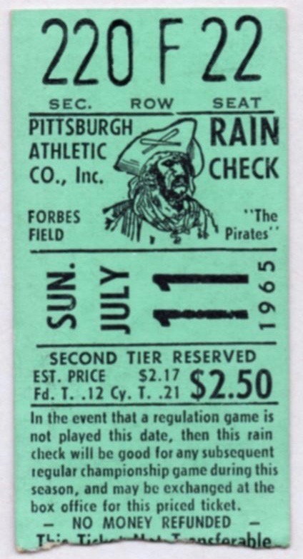 1965 MLB Dodgers at Pirates Koufax 10 K ticket stub