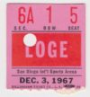 1967 WHL San Diego Gulls ticket stub vs AHL Springfield Kings