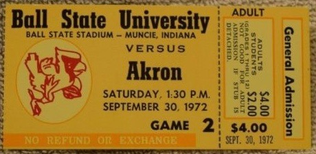 1970 NCAAF Akron at Ball state ticket stub