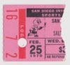 1970 WHL San Diego Gulls ticket stub vs Salt Lake