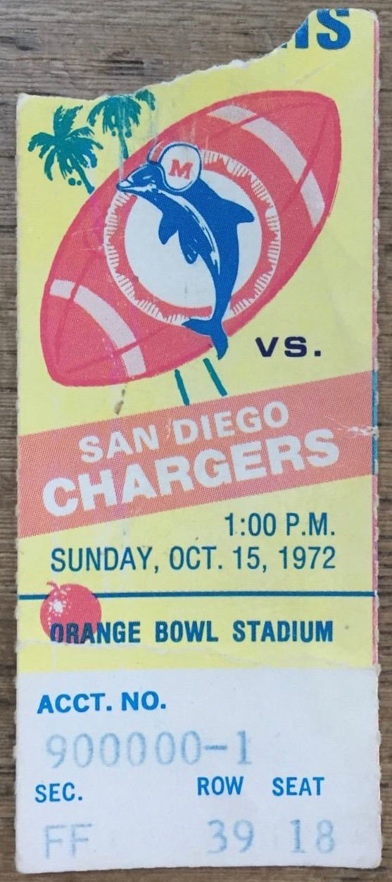 1972 NFL Chargers at Dolphins ticket stub