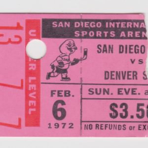 1972 WHL San Diego Gulls ticket stub vs Denver for sale