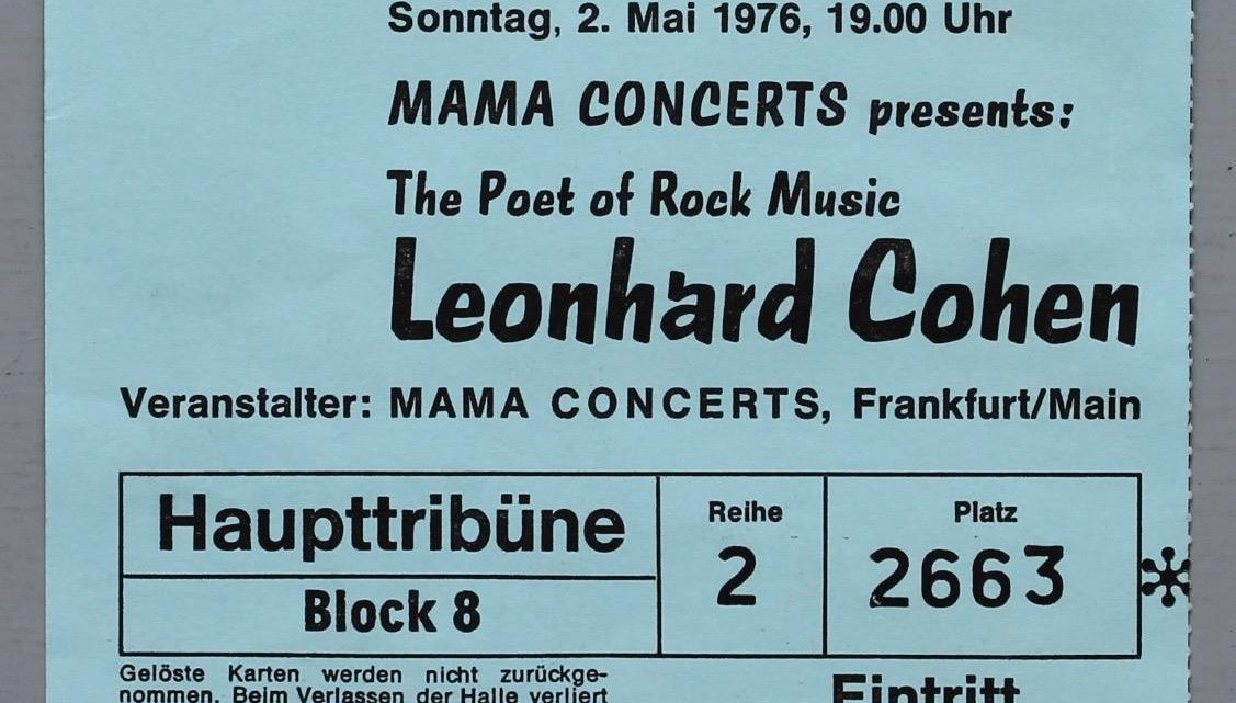 1976 Leonard Cohen Live in Germany ticket stub