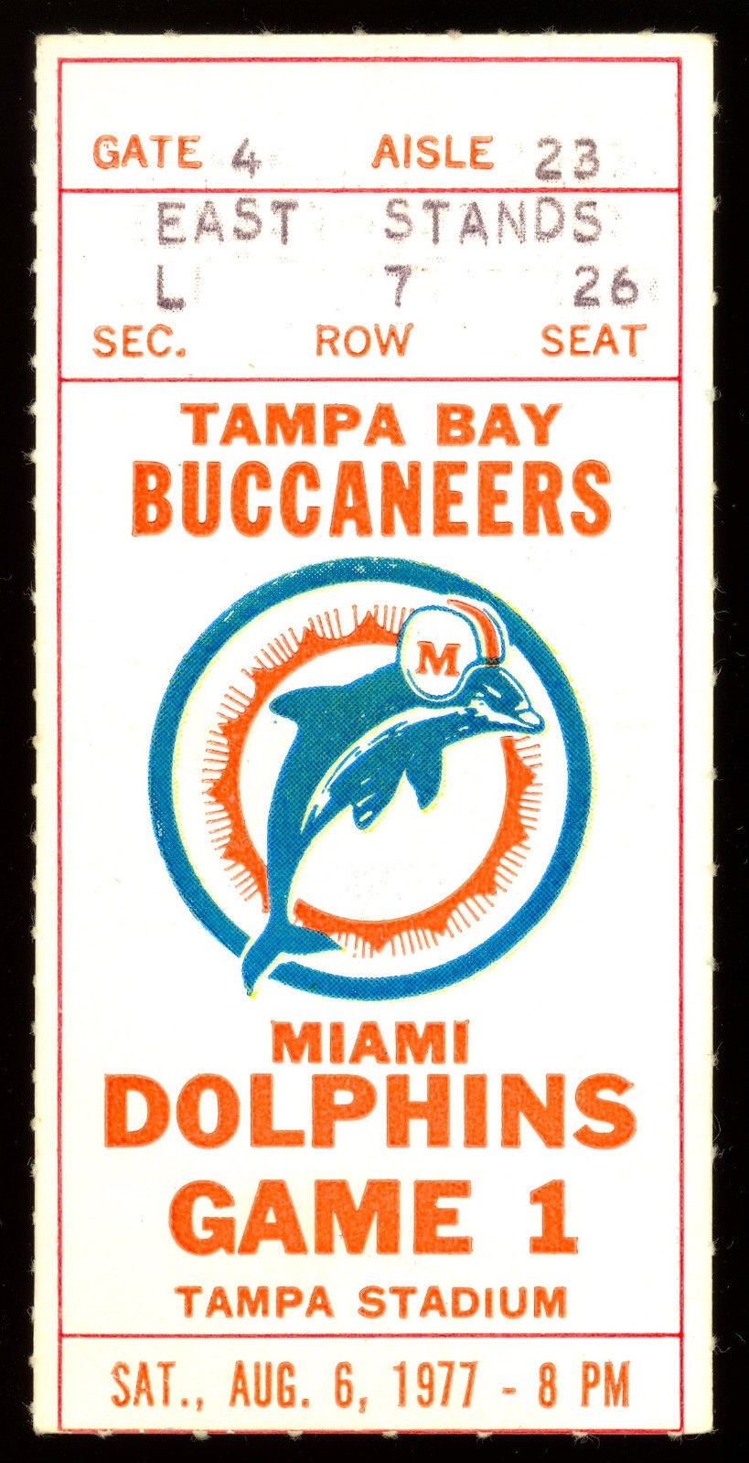 1977 NFL Dolphins at Buccaneers ticket stub