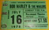 1978 Bob Marley and the Wailers Paramount Portland Ticket Stub