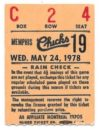 1978 MiLB Southern League Memphis Chicks ticket stub