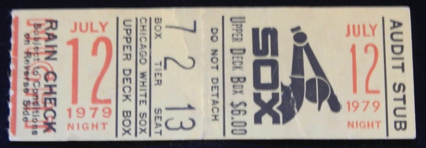 1979 Chicago White Sox ticket stub from Disco Demolition Night