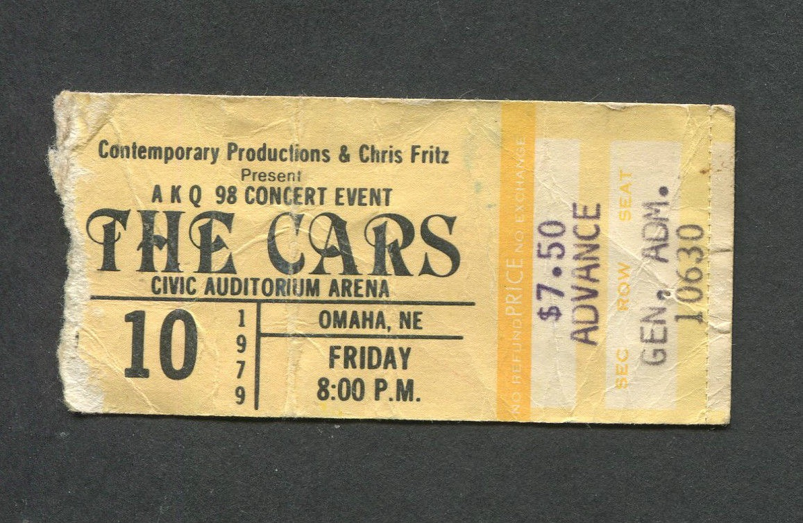 1979 The Cars + Nick Gilder Live in Omaha Ticket Stub