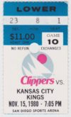 1980 NBA Kings at Clippers ticket stub