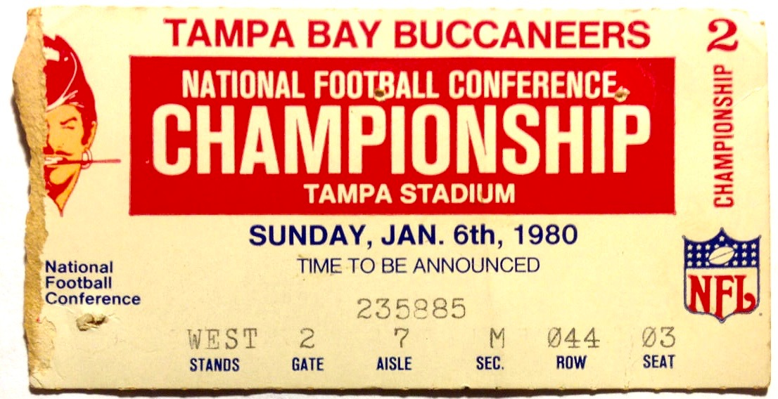 1980 NFC Championship Game ticket stub Rams vs Buccaneers