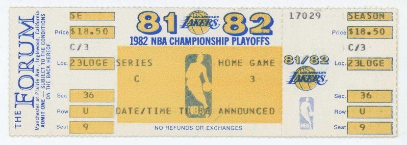 1982 NBA Finals Game 6 76ers at Lakers ticket stub