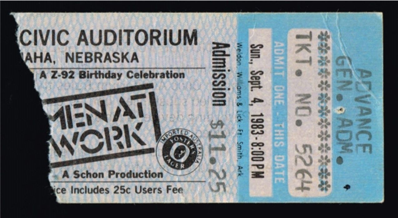 1983 Men at Work Live in Omaha ticket stub
