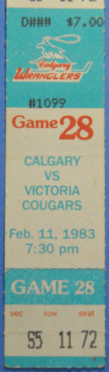 1983 WHL Victoria Cougars at Calgary Wranglers ticket stub