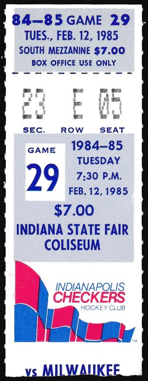 1985 IHL Milwaukee Admirals at Indianapolis Checkers ticket stub