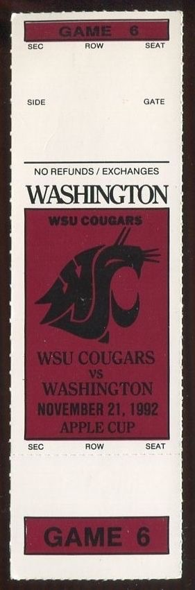 1992 NCAAF Washington at Washington State ticket stub