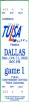 1993 CHL Dallas Freeze at Tulsa Oilers ticket stub