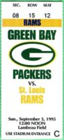 1995 NFL Rams at Packers ticket stub