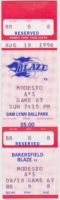 1996 MiLB California League Modesto A's at Bakersfield Blaze ticket stub