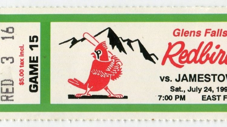 1996 MiLB NY-Penn League Jamestown Expos at Glens Falls Redbirds ticket stub