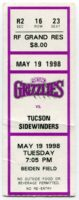 1998 Fresno Grizzlies ticket stub vs Tucson