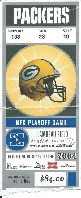 2004 NFL Wild Card Playoffs Seahawks at Packers ticket stub