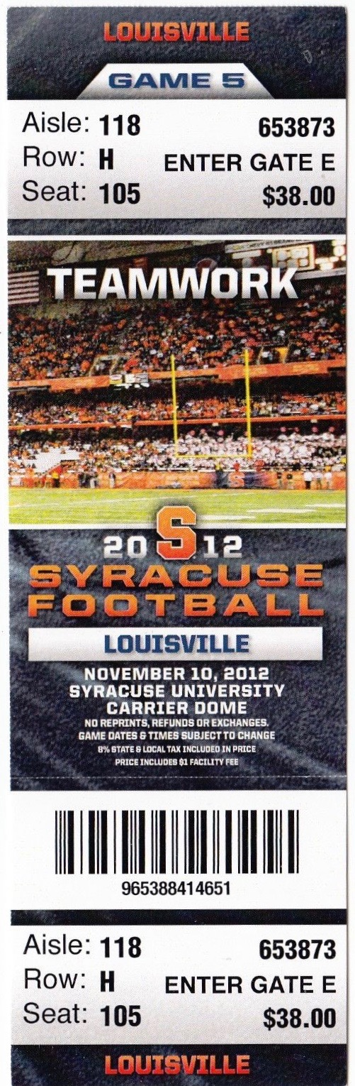 2012 NCAAF Louisville at Syracuse ticket stub