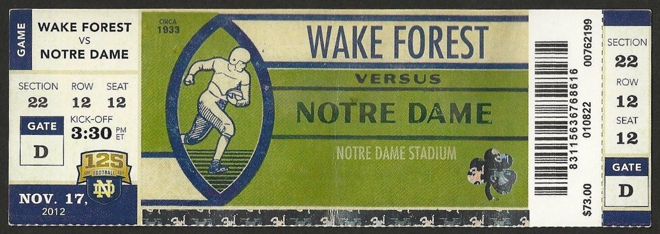 2012 NCAAF Wake Forest at Notre Dame ticket stub