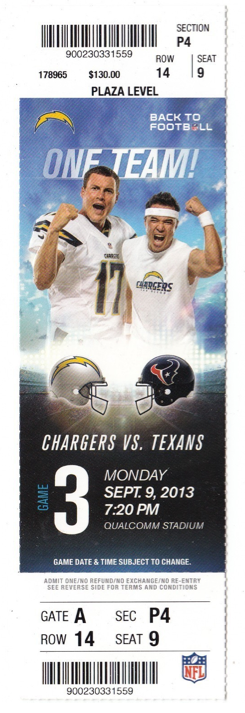 2013 NFL Chargers vs Texans