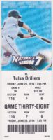 2014 Northwest Arkansas Naturals ticket stub vs Drillers
