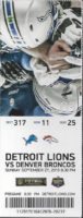 2015 NFL Broncos at Lions ticket stub
