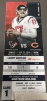 2016 NFL Bears at Texans ticket stub