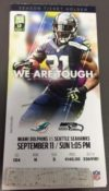 2016 NFL Dolphins at Seahawks ticket stub