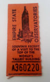 Empire State Building New York Ticket Stub