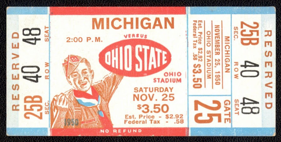 1950 NCAAF Michigan at Ohio State ticket stub