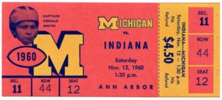 1960 NCAAF Indiana at Michigan ticket stub 39