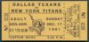 1961 AFL Titans at Texans Cotton Bowl ticket stub